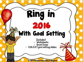 This has been recently updated to include the year 2016. If you purchased my 2015 version, don't pay for it again...just download it again. The beginning of a new calendar year is a great time to teach students how to set and achieve goals. This activity packet will surely help your students begin thinking about some of their goals for the upcoming year and give them a set of tools to help them successfully reach their goals.