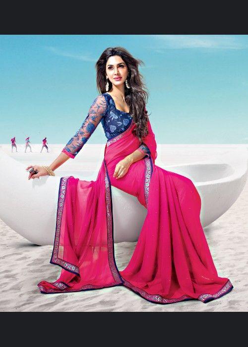 Buy Valentine Pink Chiffon saree US$ 45.99 Shop at - valentine-gift-wardrobe.blogspot.co.uk/2014/02/buy-valentine-pink-chiffon-saree-us-4599.html