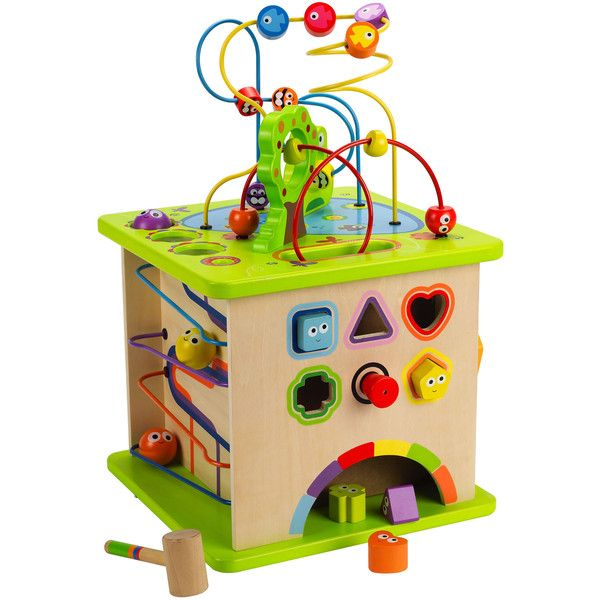 Our Country Critters Play Cube by Hape is a large wooden activity center that will keep your little one as busy as a bee! This cube is great for honing fine mot