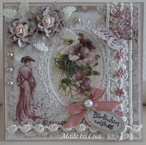 Voorbeeldkaart - Dame in het roze - Categorie: Scrapkaarten - Hobbyjournaal uw hobby website
