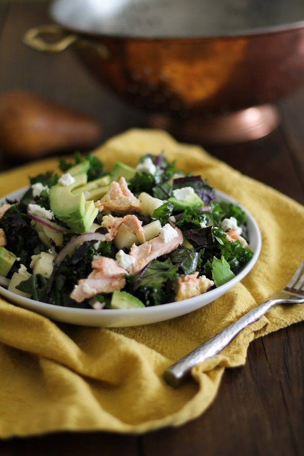 Kale Salad with Salmon, Pears, Goat Cheese, and Orange-Ginger Dressing | www.theroastedroot.net
