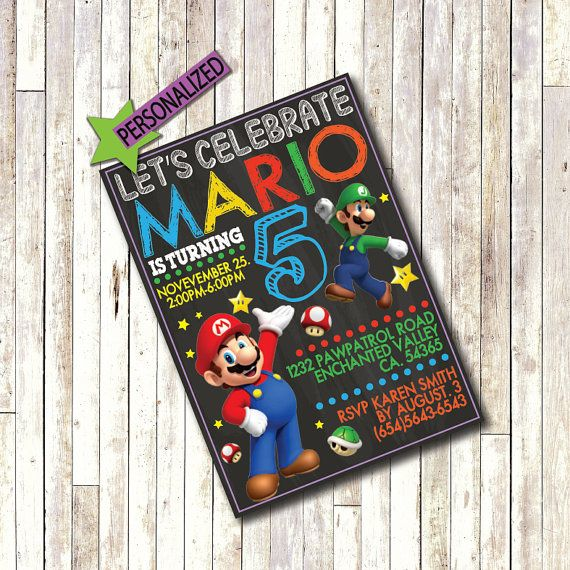 Hey, I found this really awesome Etsy listing at https://www.etsy.com/listing/245333126/super-mario-invitation-customized