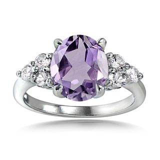 Glitzy Rocks Sterling Silver Gemstone and White Topaz Oval Ring | Overstock.com Shopping - The Best Deals on Gemstone Rings
