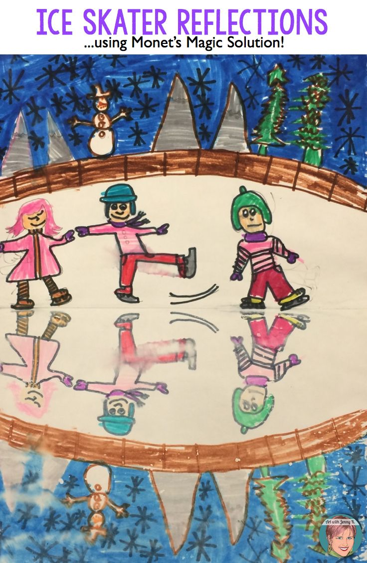 """Ice skater artwork using my secret """"Monet's Magic Solution"""" to teach about reflections and symmetry. Great winter art project for classroom teachers and art teacher alike."""