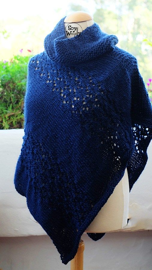 Tutorial Poncho tejido tricot calceta dos agujas paso a paso