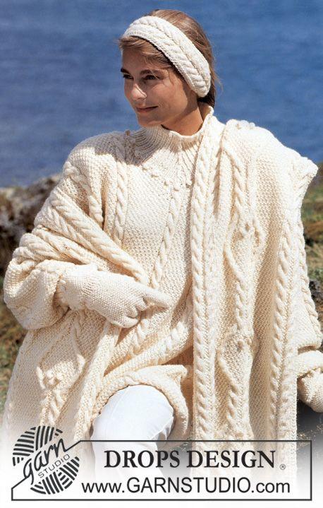 Lange DROPS trui, omslagdoek, handschoenen en hoofdband van Karisma Superwash met gerstekorrel en kabels. Maat S-L. ~ DROPS Design