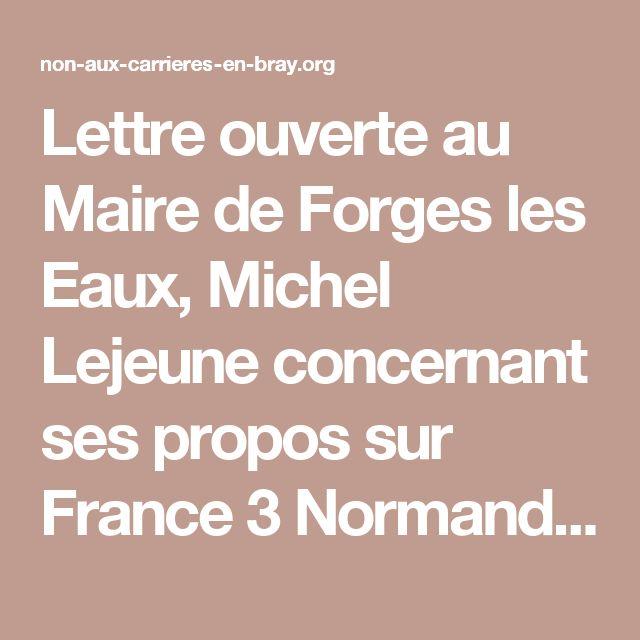 Lettre ouverte au Maire de Forges les Eaux, Michel Lejeune concernant ses propos sur France 3 Normandie - Non aux Carrières et Briqueteries en Bray