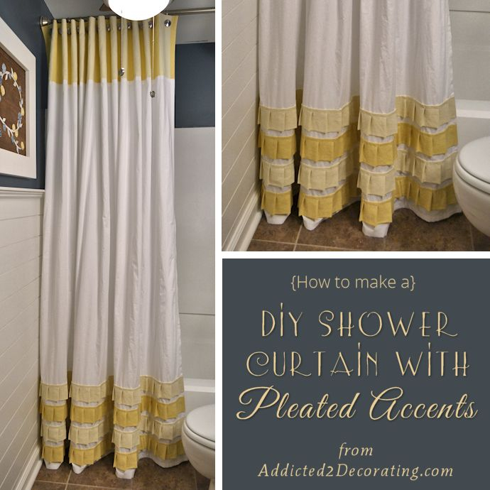 Bathroom Makeover Day 19 & 20: How To Make An Extra Long Shower Curtain With Pleated Ruffle Accents. THIS BLOG IS A MUST-READ! She is an amazingly talented lady with excellent taste and ideas. She does all of the projects in her condo and they are extensive!! Love her!!