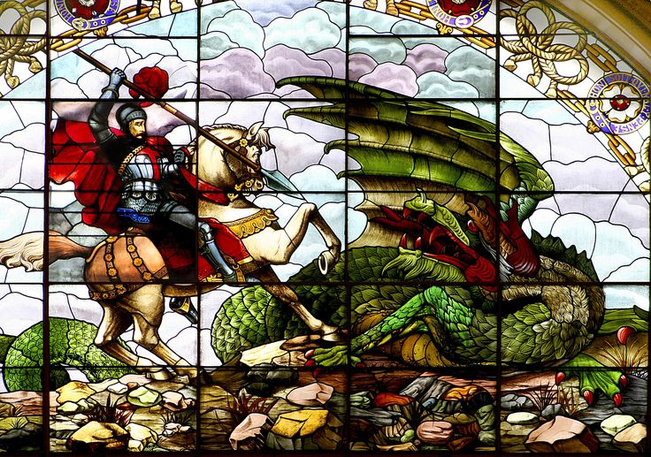 St. George & The Dragon stained glass window can be seen ...