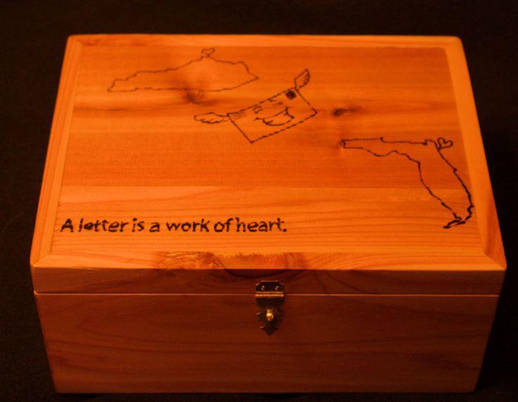 Customized wood stationery box by PapawsWorkshop2016 on Etsy