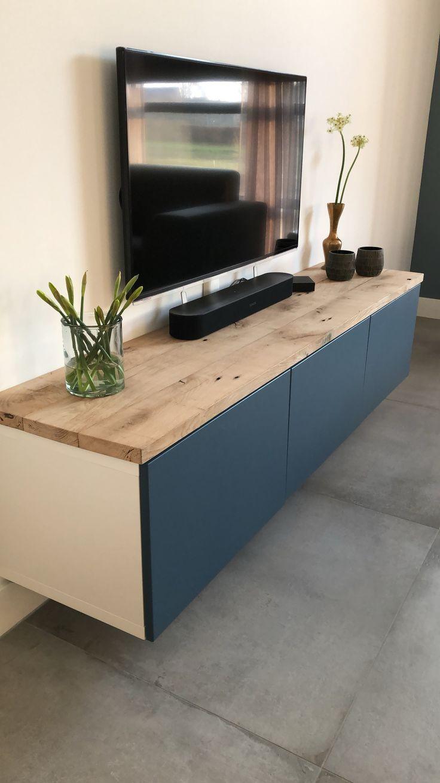 Ikea besta tv meubel met een blad van eikenhout. I…