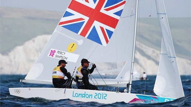 Iain Percy and Andrew Simpson of Great Britain compete in the Men's Star Sailing