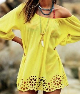 Gorgeous Color! Love this Shade of Yellow! Love it Paired with Chunky Boho Chic Jewelry! Sexy Off Shoulder Design Yellow 3/4 Sleeve Hollow Out Women's Beach Dress