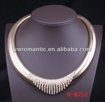 Coil necklace with rhinestone details - box clasp?