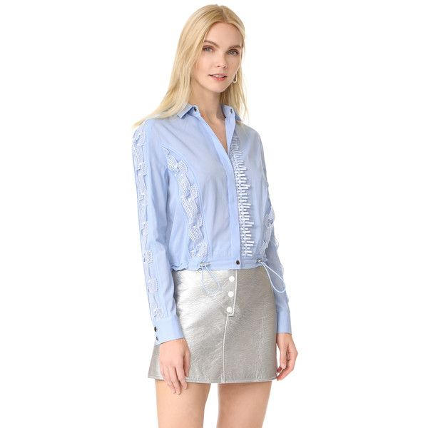 Versace Lace Inserts Shirt ($700) ❤ liked on Polyvore featuring tops, light blue, long sleeve lace top, long-sleeve shirt, blue lace top, versace shirt and long sleeve collar shirt