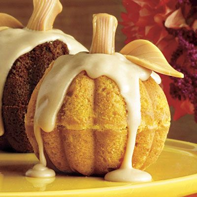 Mini Pumpkin Cake Recipe|Southern Living *Also could consider using tootsie rolls for stems, brown or green.: