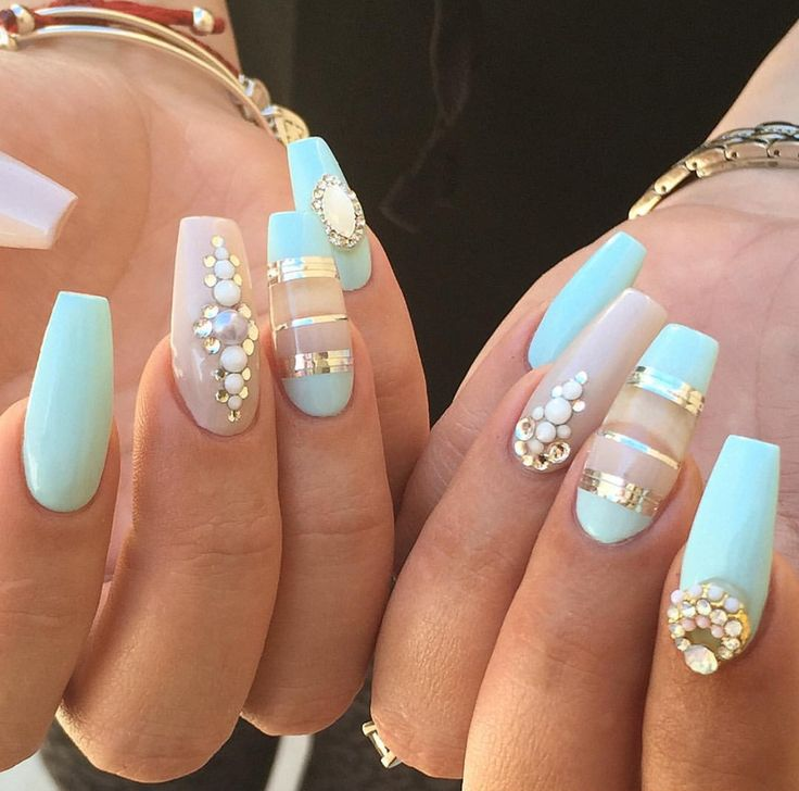 Summer light turquoise nails • Mint nails with nail charms