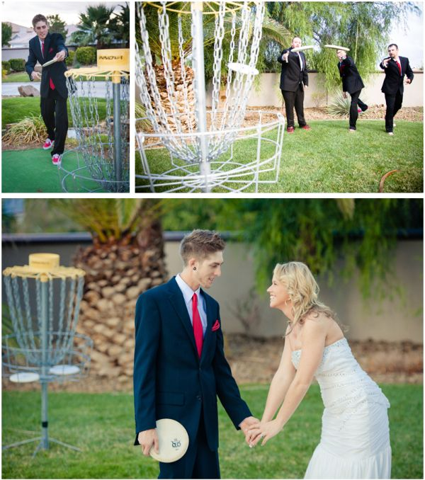 Playing disc golf before the ceremony at this private Vegas home begins. Photo: Josh & Jen Photography