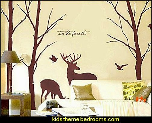 Deer Wall Decals Nature Brown Wall Decals Birch Tree Nursery Wall Stickers