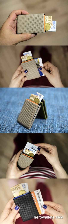 Slim leather wallet, credit card holder, mens wallet, womens wallet, minimalist wallet, modern design wallet - Limited Edition NERO Wallet