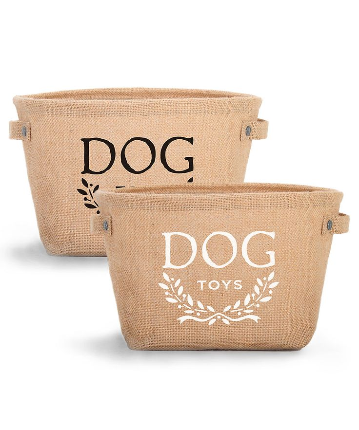 Hemp Toy Storage - Perfect for your entryway, mudroom, or patio with its durable burlap walls and safe wipe-clean interior, but elegantly stenciled to suit the living room as well, the Hemp Toy Storage bin comes complete with white lettering and a sweetly versatile laurel-wreath motif, as well as riveted side handles that make it easy to transport and attractive in use. Print available in Black or White! $38.00