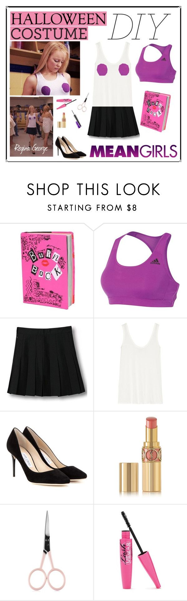 """Regina George Iconic Outfit DIY"" by carodubini ❤ liked on Polyvore featuring adidas, WithChic, The Row, Jimmy Choo, Yves Saint Laurent, Anastasia Beverly Hills and MAC Cosmetics"