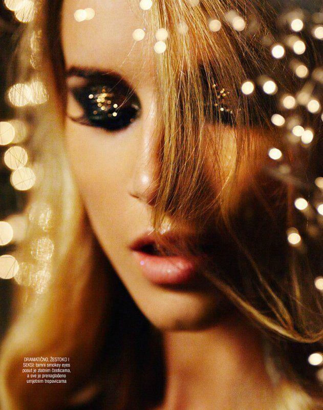 New Year Makeup Idea Black And Gold Glitter Eye Makeup