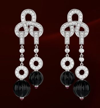 Cartier Earrings in white gold with black onyx and diamond. Luxury safes, luxury brands, exclusive design, luxury goods, luxury life, maison et objet. For more luxury news check out: http://luxurysafes.me/blog/