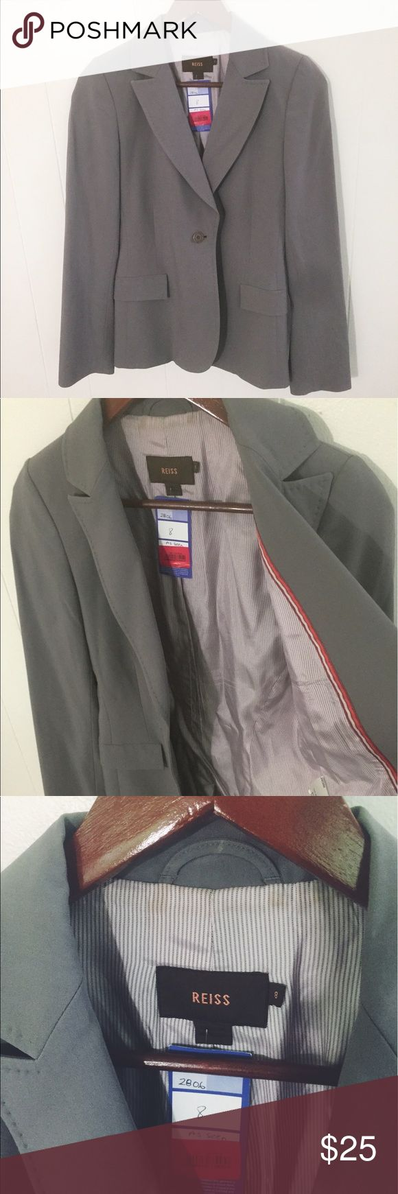 Reiss Gray Blazer suit Reiss gray blazer. Very cute and classy. Has some signs of wear but inside the jacket so not seen when worn. Reiss Jackets & Coats Blazers