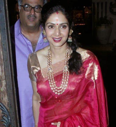 Jewellery Designs: Sridevi Bonikapoor Jhumkas and Kundan Set