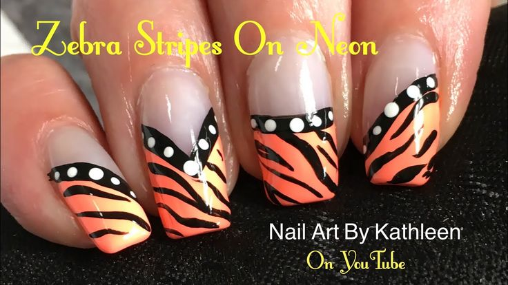 Zebra Stripes Nail Art On Neon - DIY Nail Art Tutorial - YouTube #nails #nailart # zebrastripes #neon