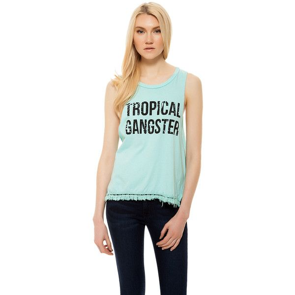 Ocean Drive Clothing Co.  Tropical Gangster Muscle Tee ($42) ❤ liked on Polyvore featuring tops, mint, mint green top, sleeveless tank, sleeveless tank tops, green tank top and sleeveless tshirt