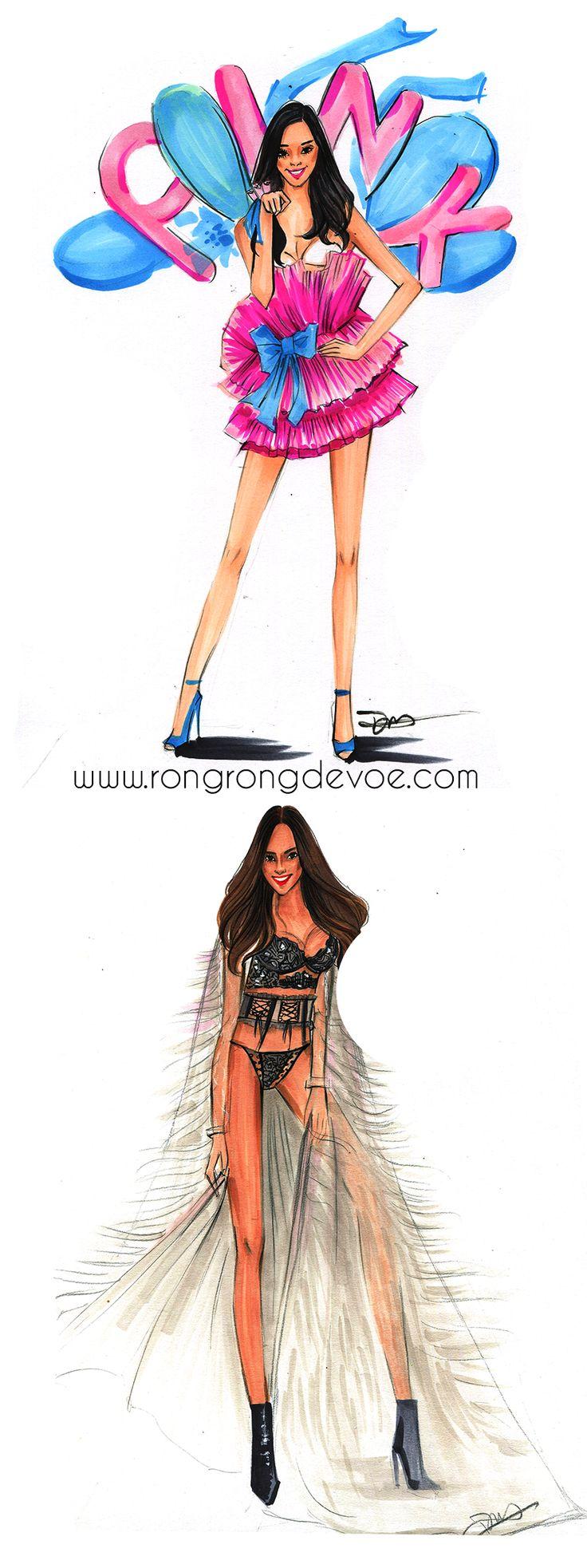 Fashion Sketches of Victoria Secret fashion show 2015 by Houston fashion illustrator Rongrong DeVoe, more designs on www.rongrongdevoe.com #VSFashionShow #VictoriaSecret
