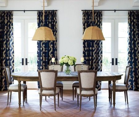 Everything...the curtains against the clean white walls, the Belgian-y wood table and chairs, the burlap shades.