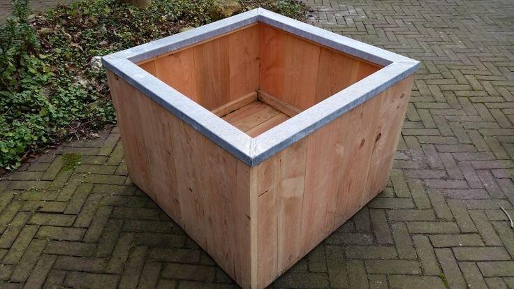 Douglas houten plantenbak op wielen zinken rand 80x80x60 cm tuininrichting pinterest as - Houten doos op wielen ...