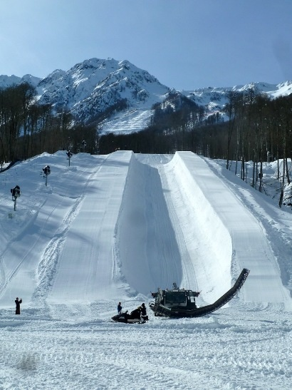 The bottom of Sochi's superpipe. (ATR) For the lastest news on the Olympics go to http://aroundtherings.com or add us on Facebook. http://facebook.com/aroundtherings