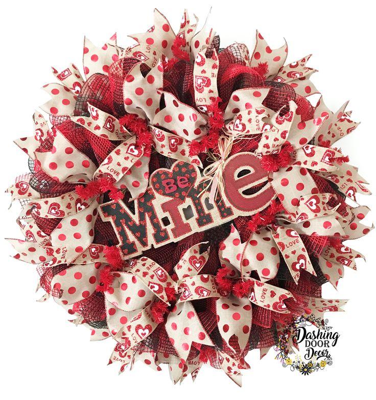 "Valentine's Day ""Be Mine"" Burlap Buffalo Check Deco Mesh Wreath"