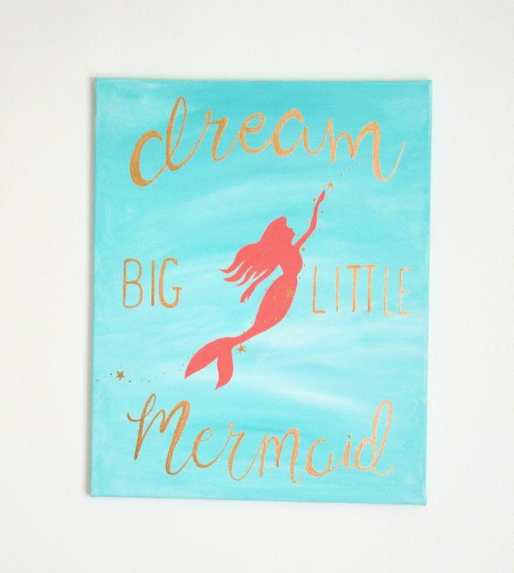 Dream big Mermaid Canvas, 16x20 Mermaid painting, Aqua Coral Gold Nursery Wall Decor, Dream big little mermaid,  Handlettered Painting by LilysNurseryShop on Etsy