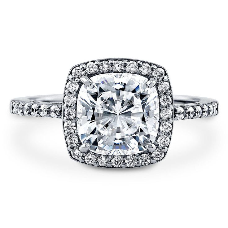 Berricle Sterling Silver Cushion Cut Cz Halo Engagement Ring 3.18 Carat