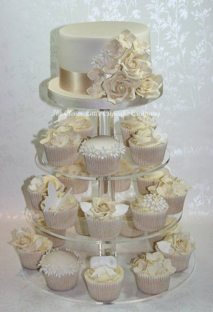 white wedding cake cupcakes ivory and white wedding cupcake tower i want something 27338
