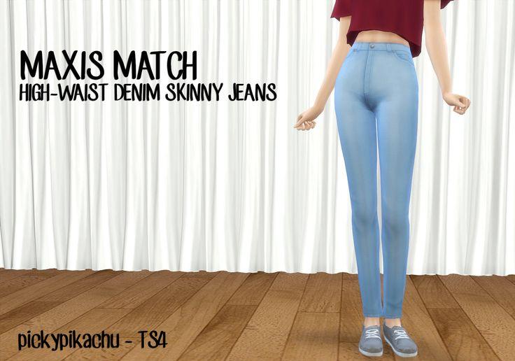 My Sims 4 Blog: Maxis Match High-Waist Denim Skinny Jeans for Teen...