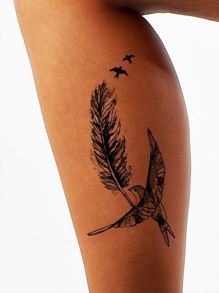 Flight Patterns Feather Tattoo