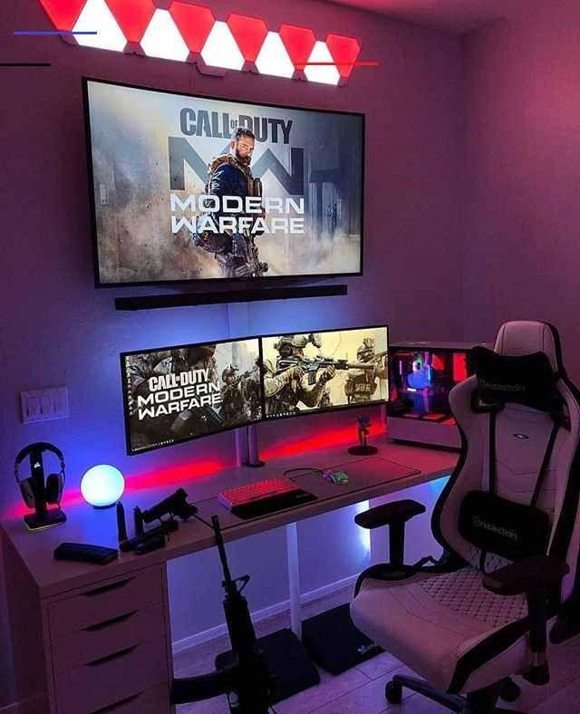 Gamingsetup Gamer Zimmer Gameroom Ideen Spielzimmer Design