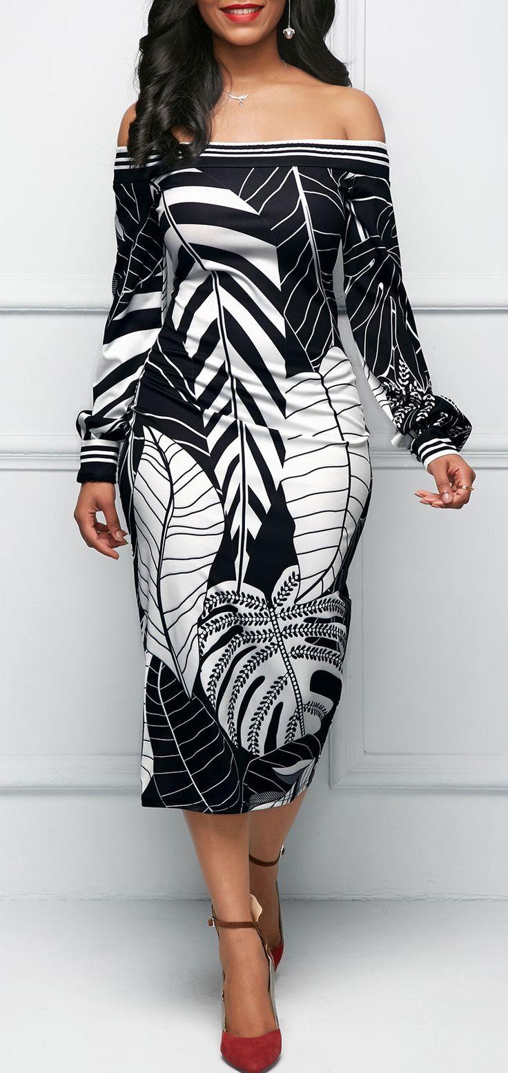 Leaf Print Off the Shoulder Black Sheath Dress