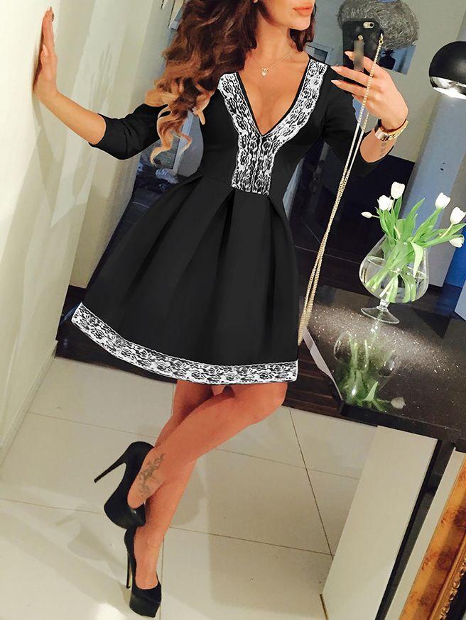 Shop Black Deep V-neck Lace Embellished Flare Dress online. SheIn offers Black Deep V-neck Lace Embellished Flare Dress & more to fit your fashionable needs.
