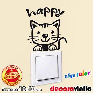 Vinilo decorativo pegatina infantil interruptor enchufe gato happy ...
