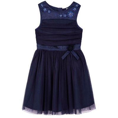 Yumi Girl blue Mesh Prom Dress With Corsage   Debenhams