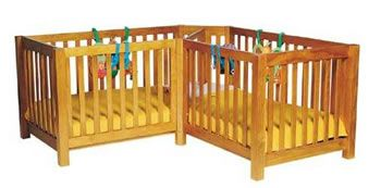 Cribs for Twins: Twin Corner Cot: L-Shaped Crib for Twins from TwinsThings (UK)