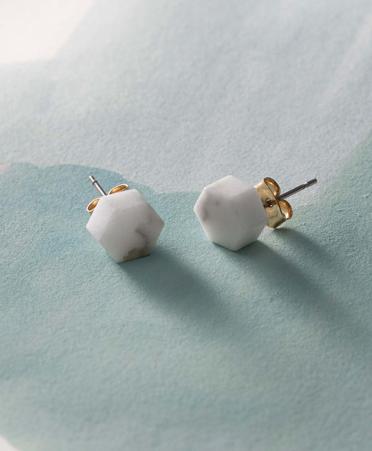 Studs that make a statement. Handcrafted from marble.  Mod Marble Studs - Noonday Collection