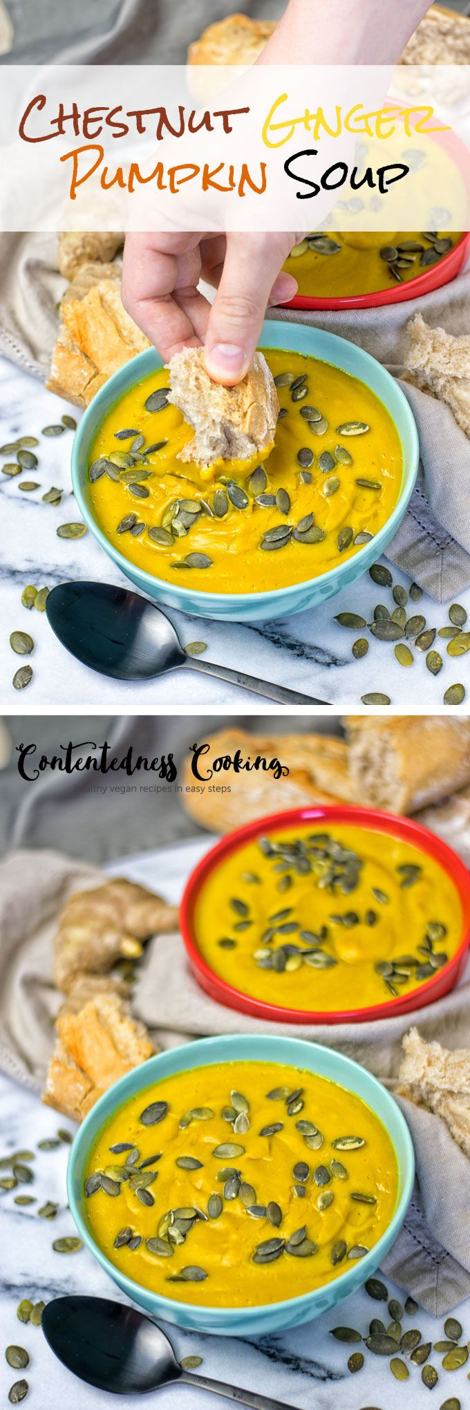 My Chestnut Ginger Pumpkin Soup is the best fall soup, satisfying, and warming. It is made from only 5 ingredients and 2 easy steps.